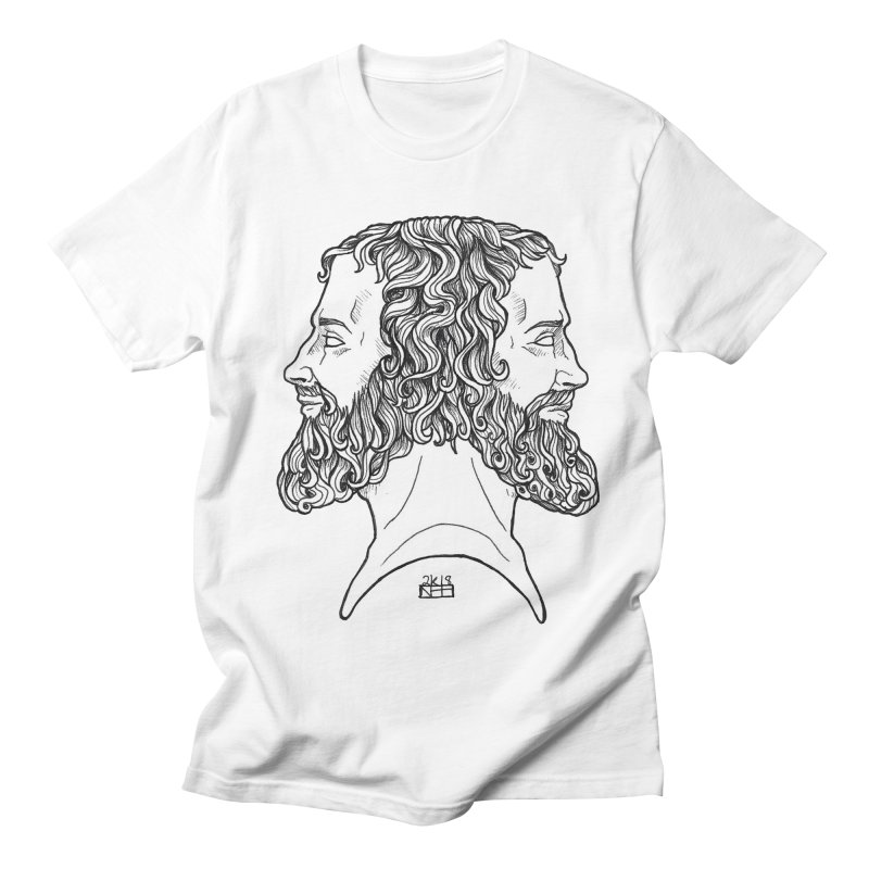 Janus Sees Both Past and Future Men's Regular T-Shirt by DEROSNEC's Art Shop