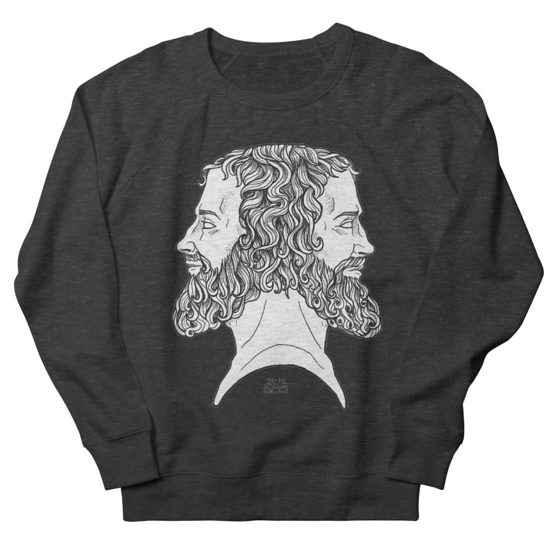 Janus Sees Both Past and Future Men's French Terry Sweatshirt by DEROSNEC's Art Shop
