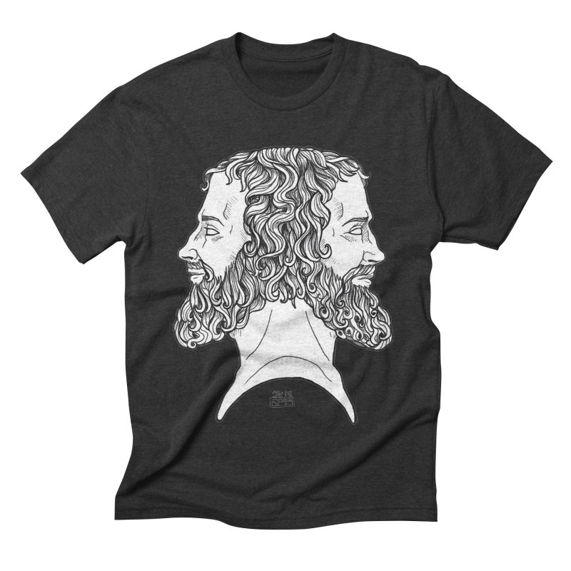 Janus Sees Both Past and Future Men's Triblend T-Shirt by DEROSNEC's Art Shop