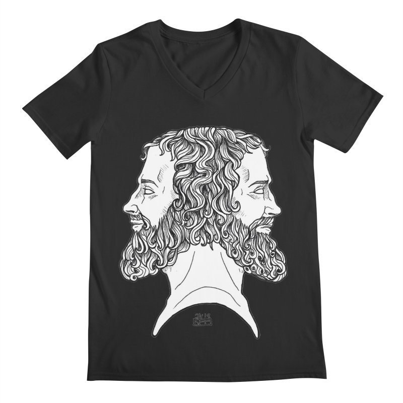 Janus Sees Both Past and Future Men's Regular V-Neck by DEROSNEC's Art Shop