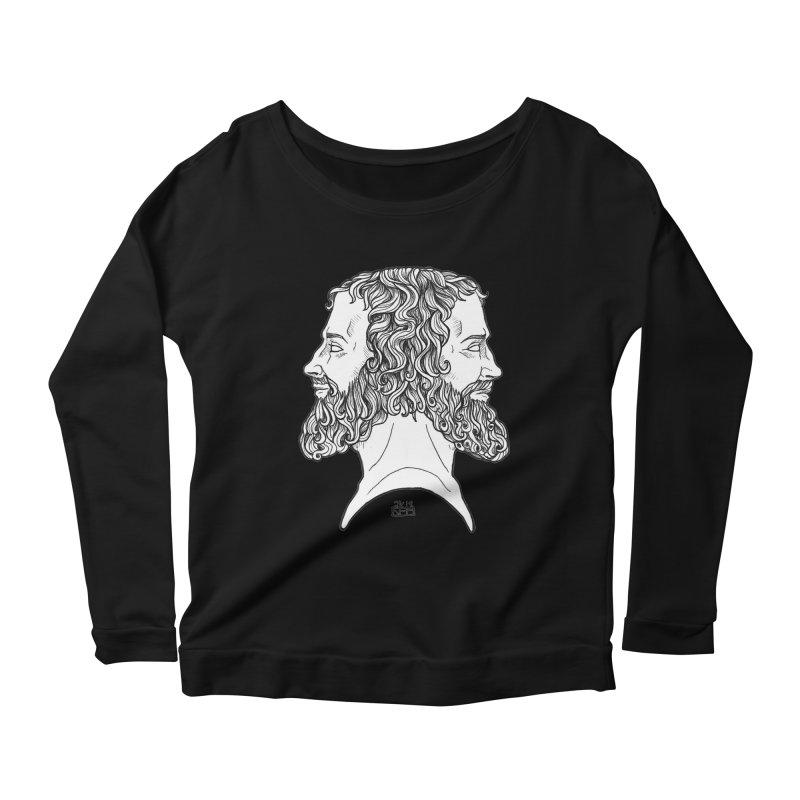 Janus Sees Both Past and Future Women's Scoop Neck Longsleeve T-Shirt by DEROSNEC's Art Shop