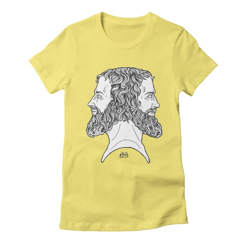 Janus Sees Both Past and Future Women's Fitted T-Shirt by DEROSNEC's Art Shop