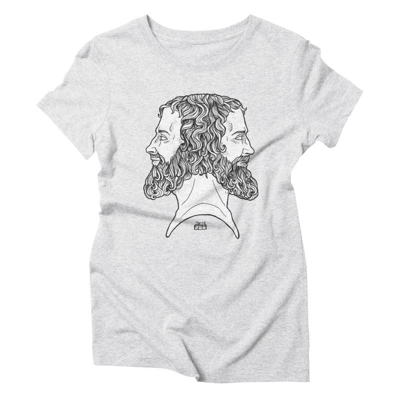 Janus Sees Both Past and Future Women's Triblend T-Shirt by DEROSNEC's Art Shop