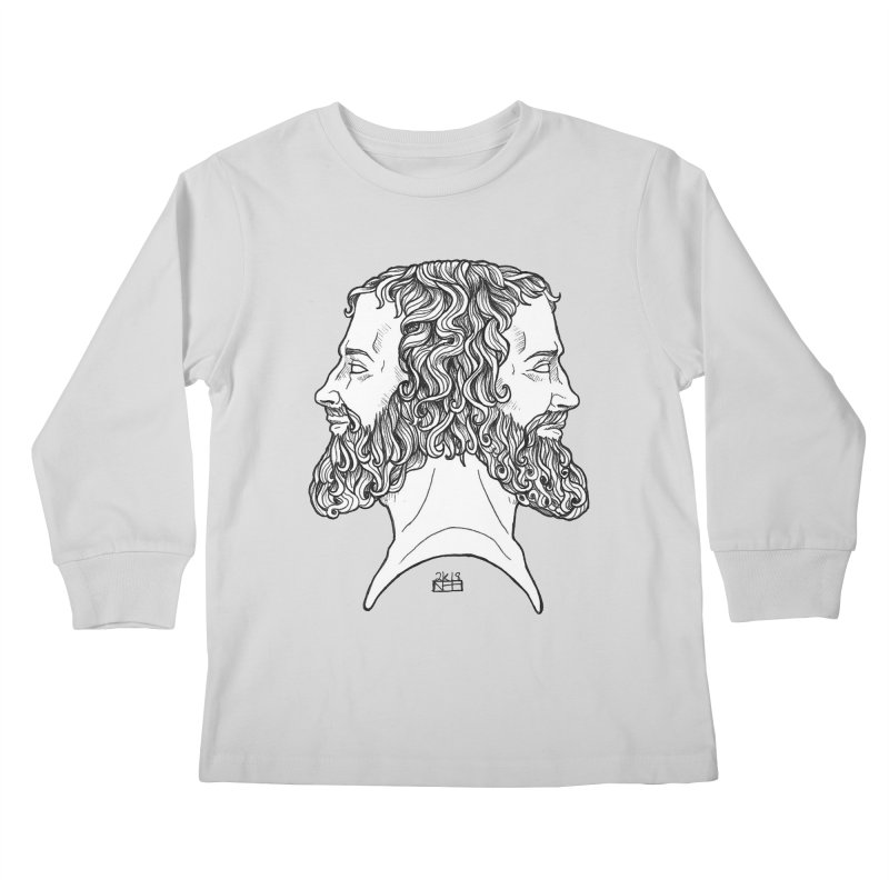 Janus Sees Both Past and Future Kids Longsleeve T-Shirt by DEROSNEC's Art Shop