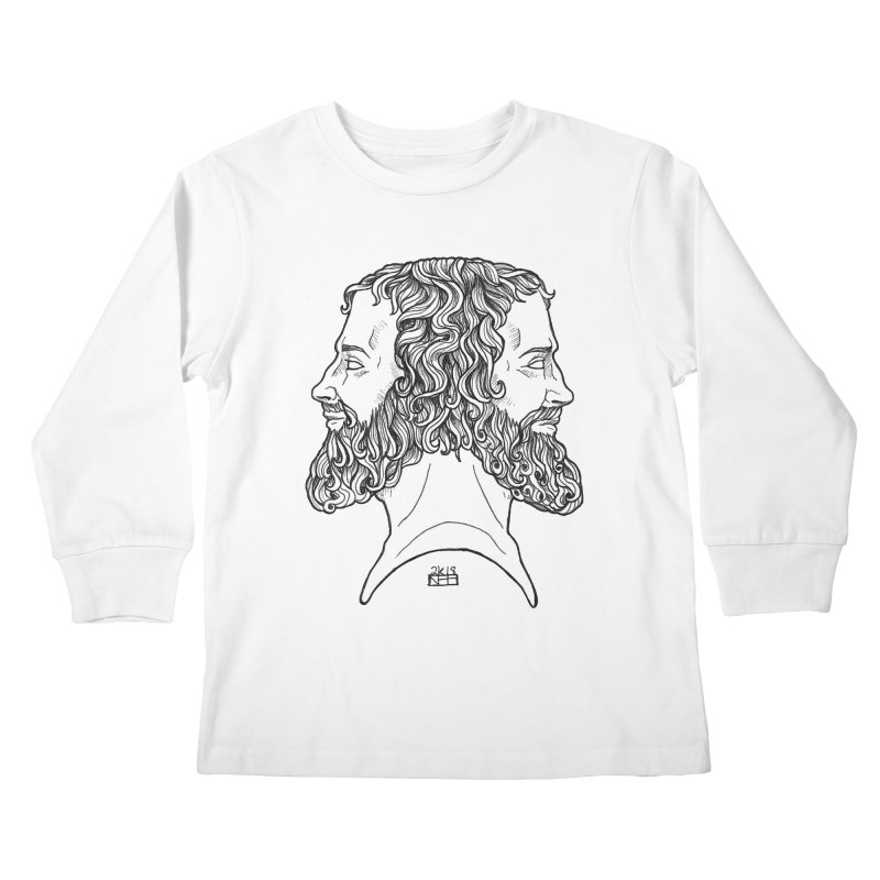 Janus Sees Both Past and Future Kids Longsleeve T-Shirt by DEROSNEC's Art Shop
