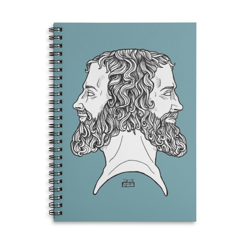 Janus Sees Both Past and Future Accessories Lined Spiral Notebook by DEROSNEC's Art Shop