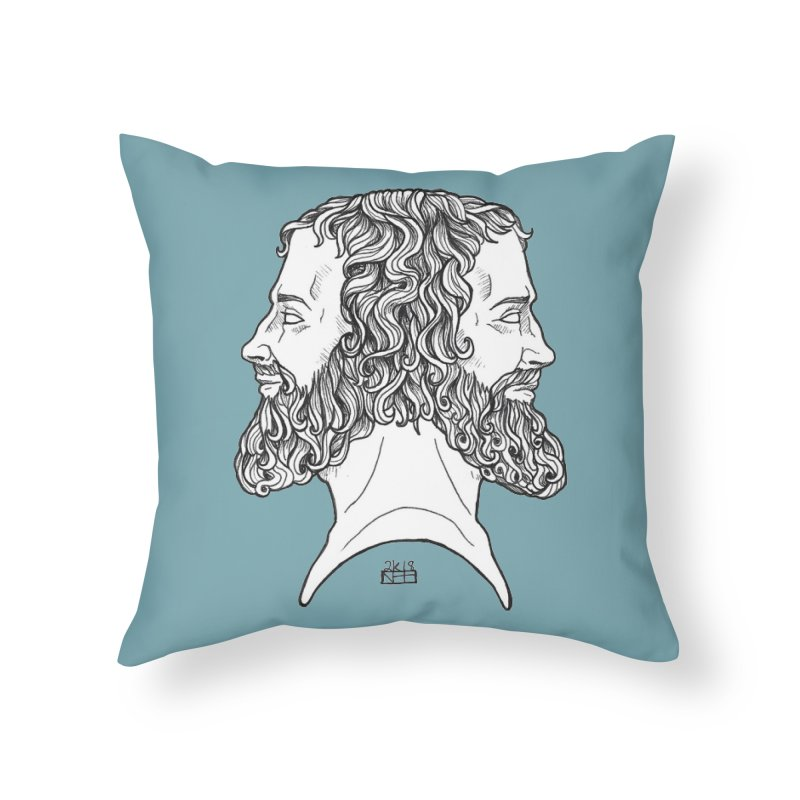 Janus Sees Both Past and Future Home Throw Pillow by DEROSNEC's Art Shop