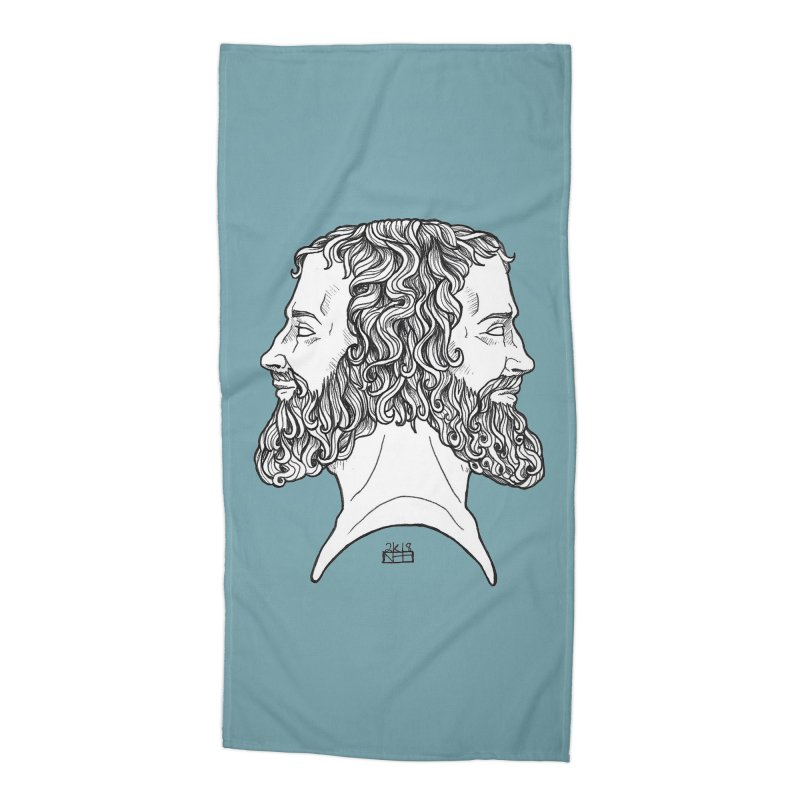 Janus Sees Both Past and Future Accessories Beach Towel by DEROSNEC's Art Shop
