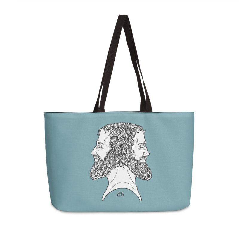 Janus Sees Both Past and Future Accessories Weekender Bag Bag by DEROSNEC's Art Shop