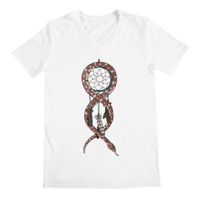Dreamcatcher Snake Men's Regular V-Neck by DEROSNEC's Art Shop