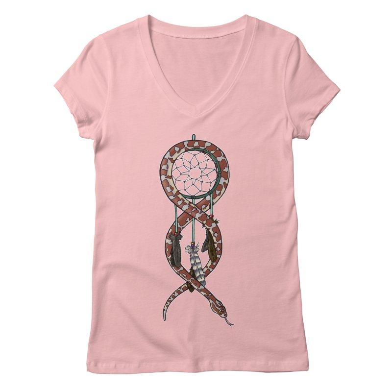 Dreamcatcher Snake Women's Regular V-Neck by DEROSNEC's Art Shop
