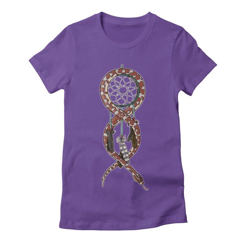 Dreamcatcher Snake Women's Fitted T-Shirt by DEROSNEC's Art Shop