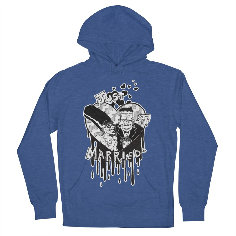 Just Married Men's French Terry Pullover Hoody by DEROSNEC's Art Shop