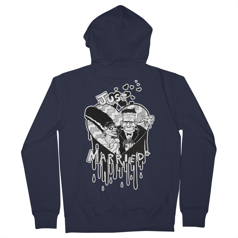 Just Married Men's French Terry Zip-Up Hoody by DEROSNEC's Art Shop