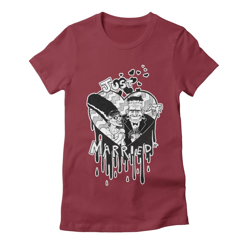 Just Married Women's Fitted T-Shirt by DEROSNEC's Art Shop