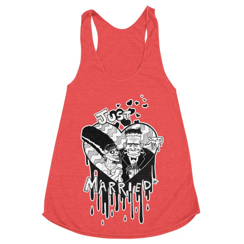 Just Married Women's Racerback Triblend Tank by DEROSNEC's Art Shop