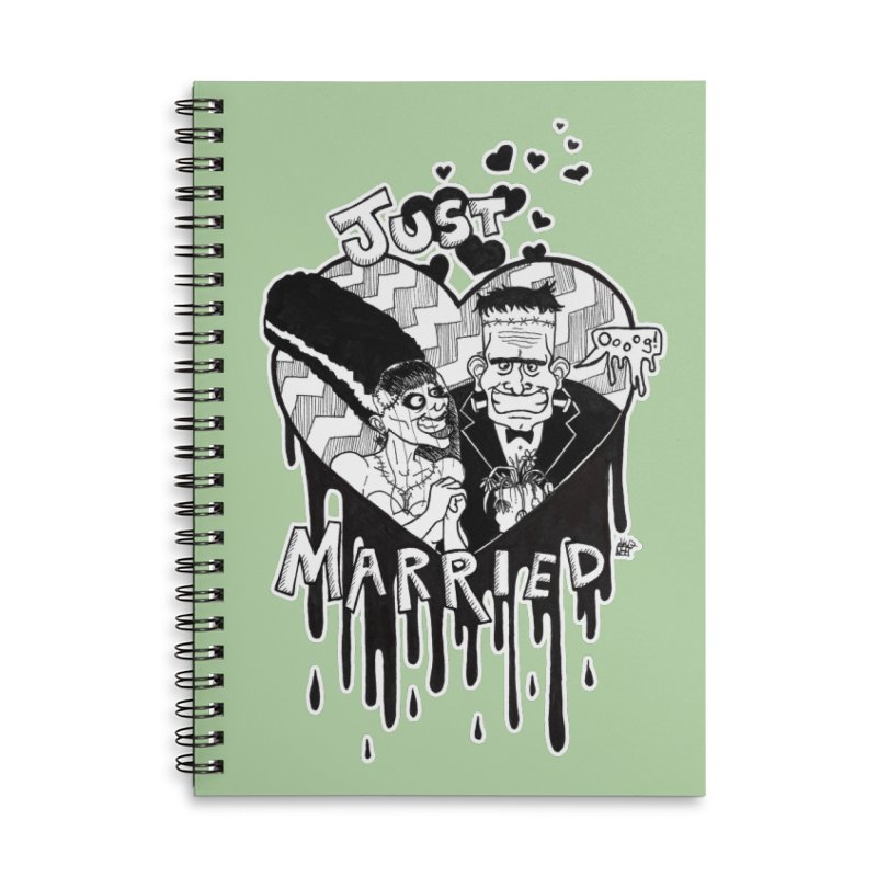 Just Married Accessories Lined Spiral Notebook by DEROSNEC's Art Shop