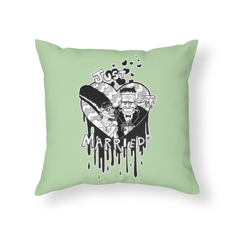 Just Married Home Throw Pillow by DEROSNEC's Art Shop