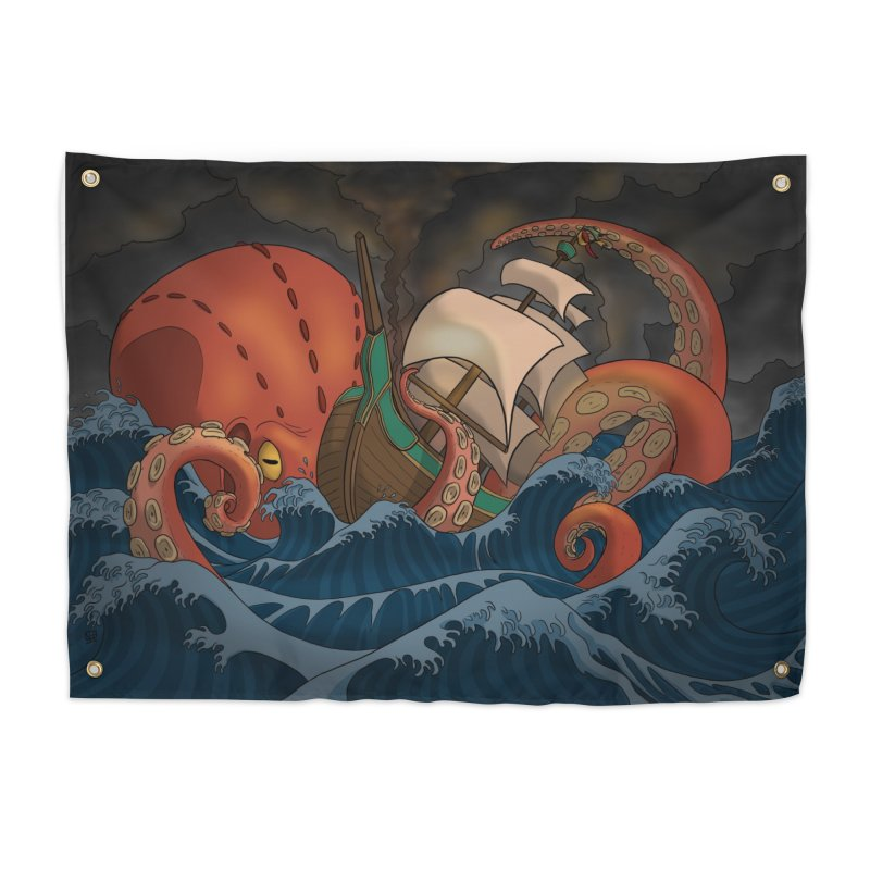 A Beast Arose From the Ocean Home Tapestry by DEROSNEC's Art Shop