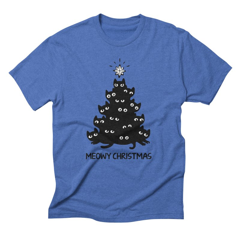 0e86badb8 Meowy Christmas Funny Cat Tree Ugly Sweater Christmas Men's T-Shirt by  des118's Artist Shop