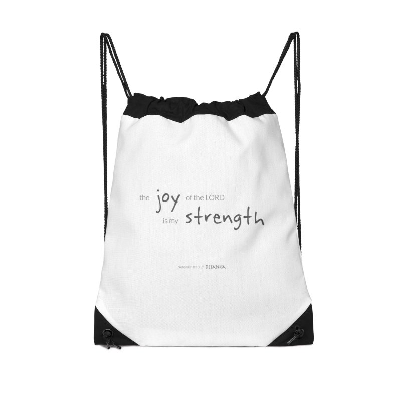 JOY // Is My Strength Accessories Drawstring Bag Bag by Desanka Spirit's Artist Shop