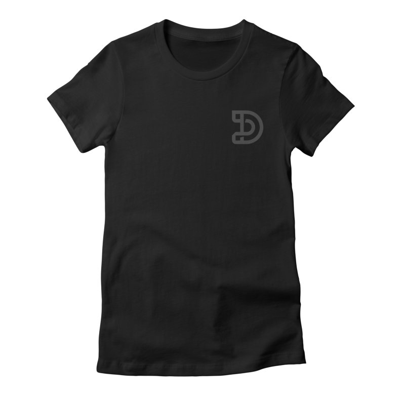 Design Much Dark Theme - Upper Left Logo Women's Fitted T-Shirt by The Design Much Podcast Shop