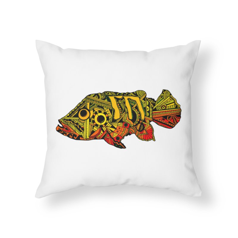 Color Peacock Bass Home Throw Pillow by designsbydana's Artist Shop