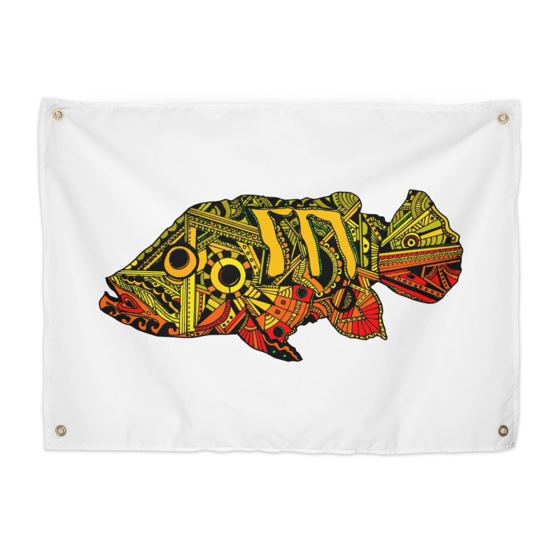 Color Peacock Bass Home Tapestry by designsbydana's Artist Shop