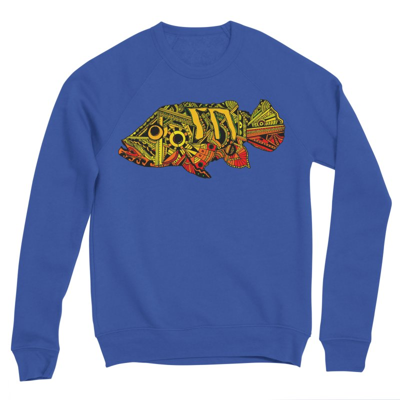 Color Peacock Bass Men's Sponge Fleece Sweatshirt by designsbydana's Artist Shop