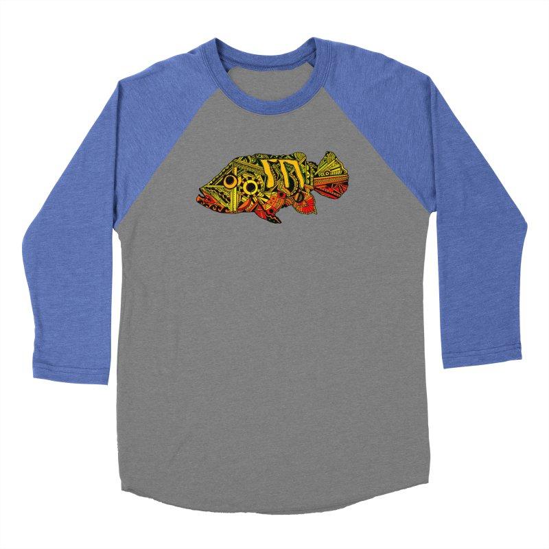 Color Peacock Bass Men's Baseball Triblend Longsleeve T-Shirt by designsbydana's Artist Shop