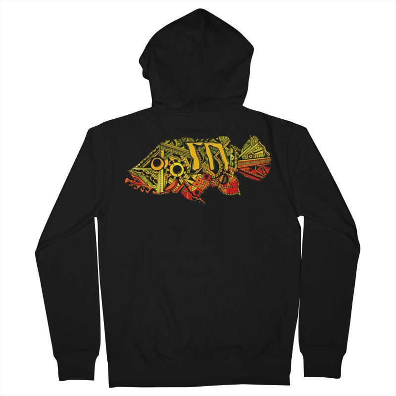 Color Peacock Bass Men's French Terry Zip-Up Hoody by designsbydana's Artist Shop