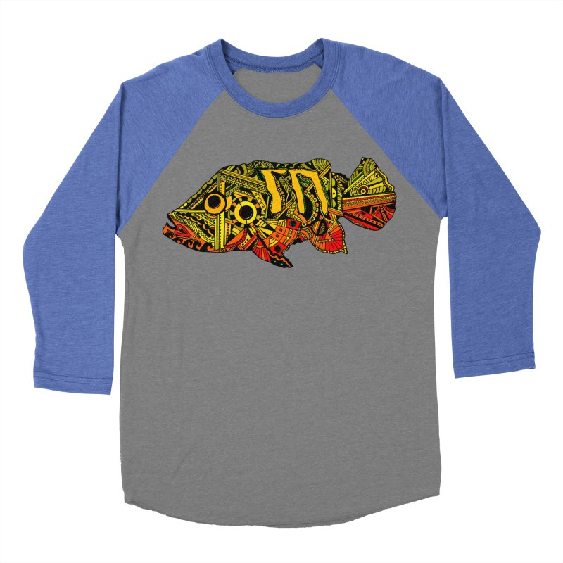 Color Peacock Bass Men's Baseball Triblend Longsleeve T-Shirt by designsbydana's Artist Shop