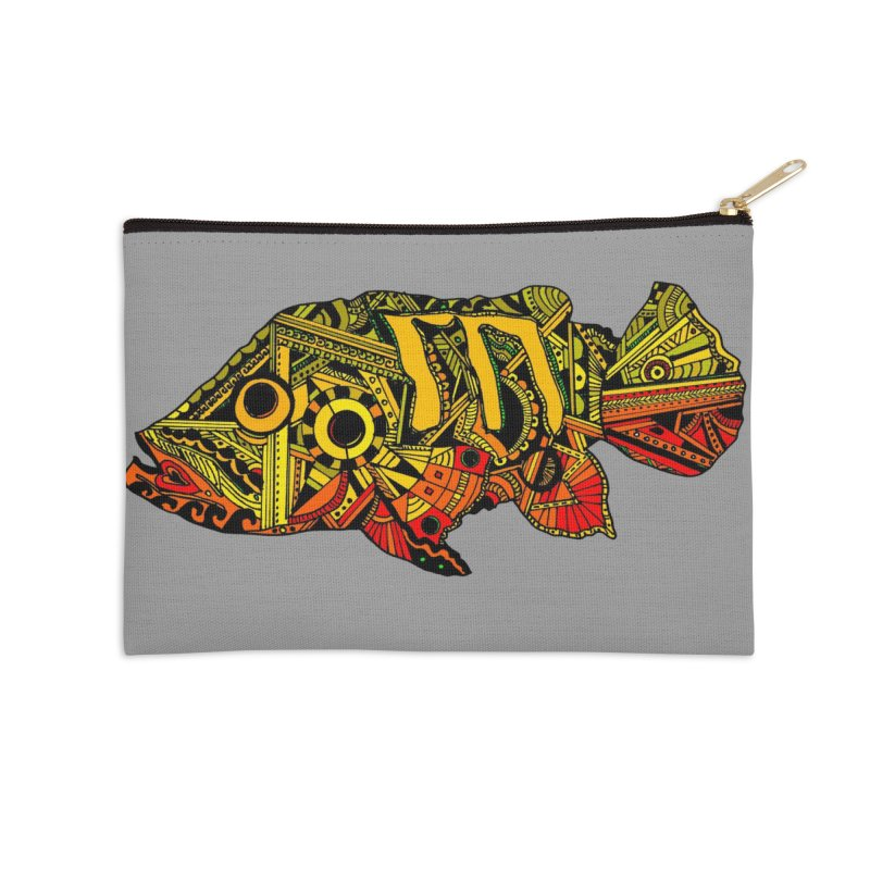 Color Peacock Bass Accessories Zip Pouch by designsbydana's Artist Shop