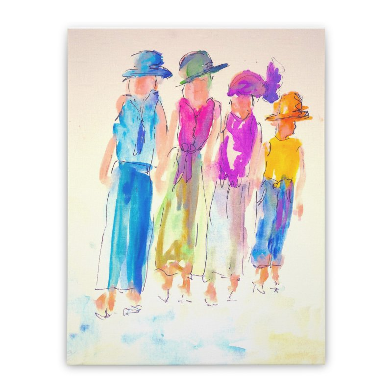4 LADIES Home Stretched Canvas by designsbydana's Artist Shop