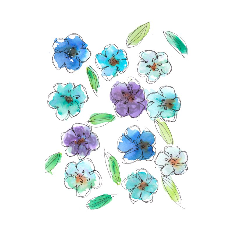 Blue flowers Accessories Phone Case by designsbydana's Artist Shop