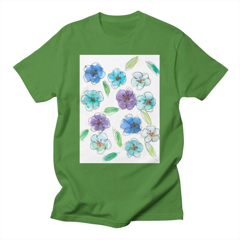 Blue flowers Men's T-Shirt by designsbydana's Artist Shop