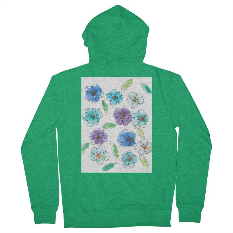 Blue flowers Men's Zip-Up Hoody by designsbydana's Artist Shop