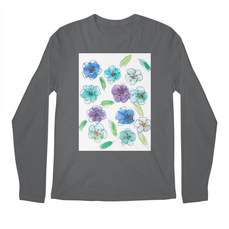 Blue flowers Men's Longsleeve T-Shirt by designsbydana's Artist Shop