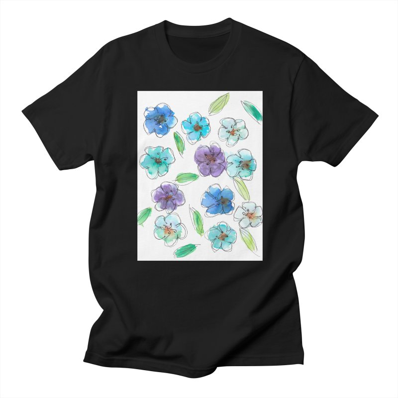 Blue flowers Men's T-Shirt by designsbydana's Artist Shop