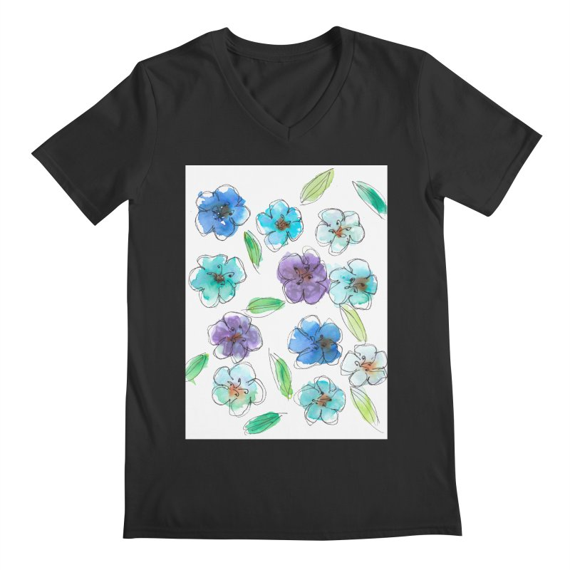 Blue flowers Men's V-Neck by designsbydana's Artist Shop
