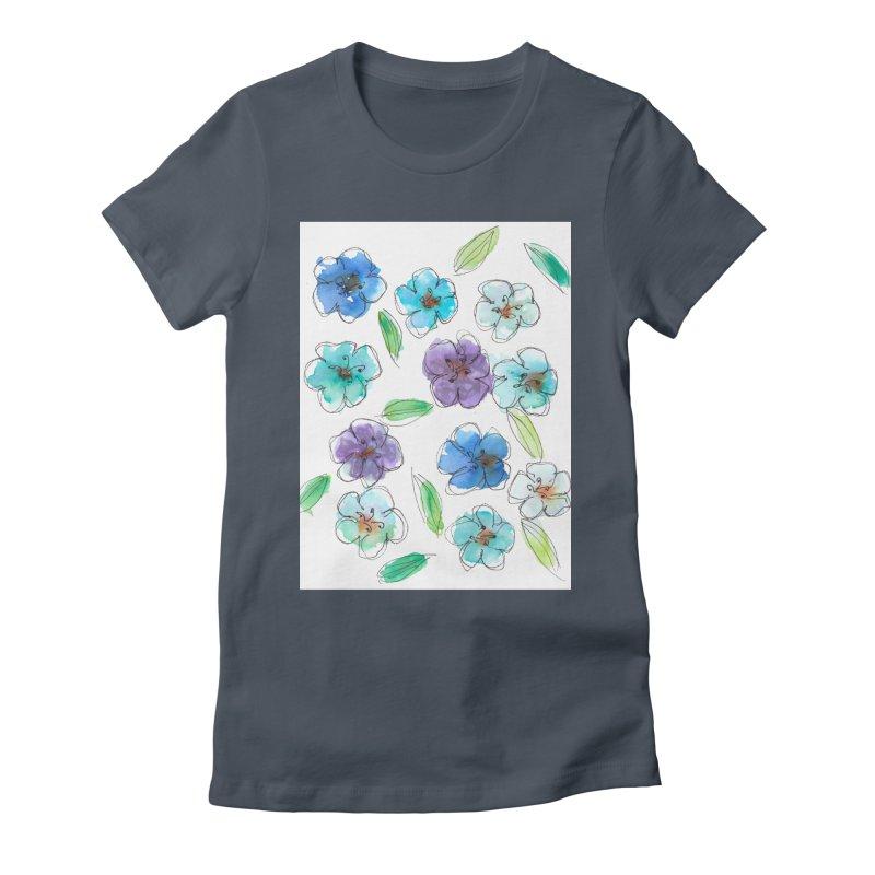 Blue flowers Women's T-Shirt by designsbydana's Artist Shop