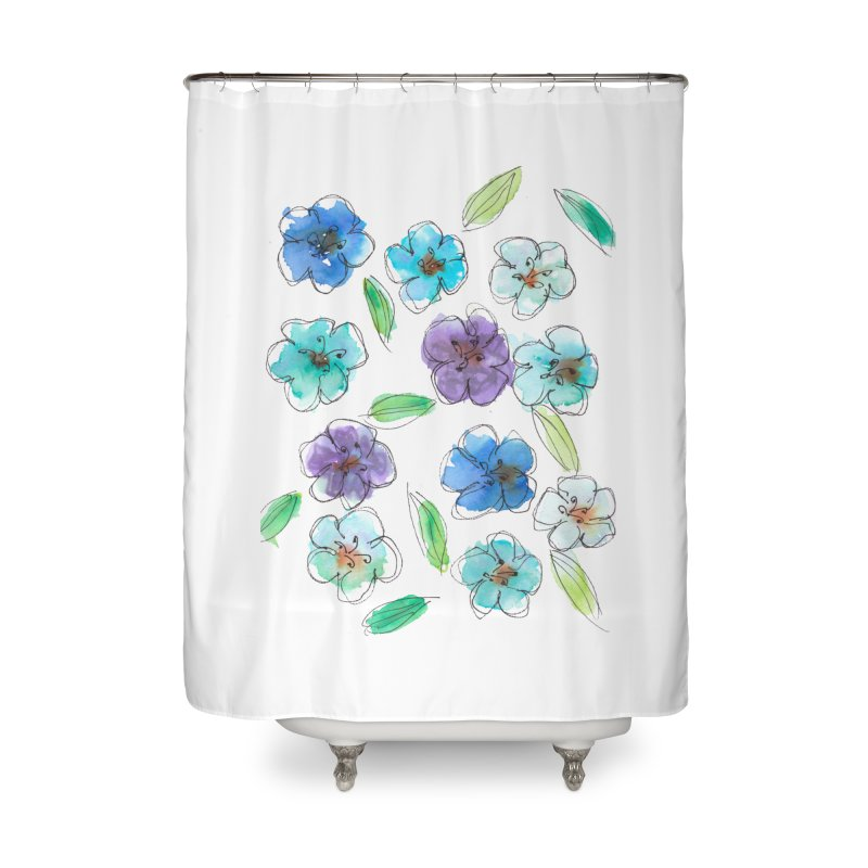 Blue flowers Home Shower Curtain by designsbydana's Artist Shop
