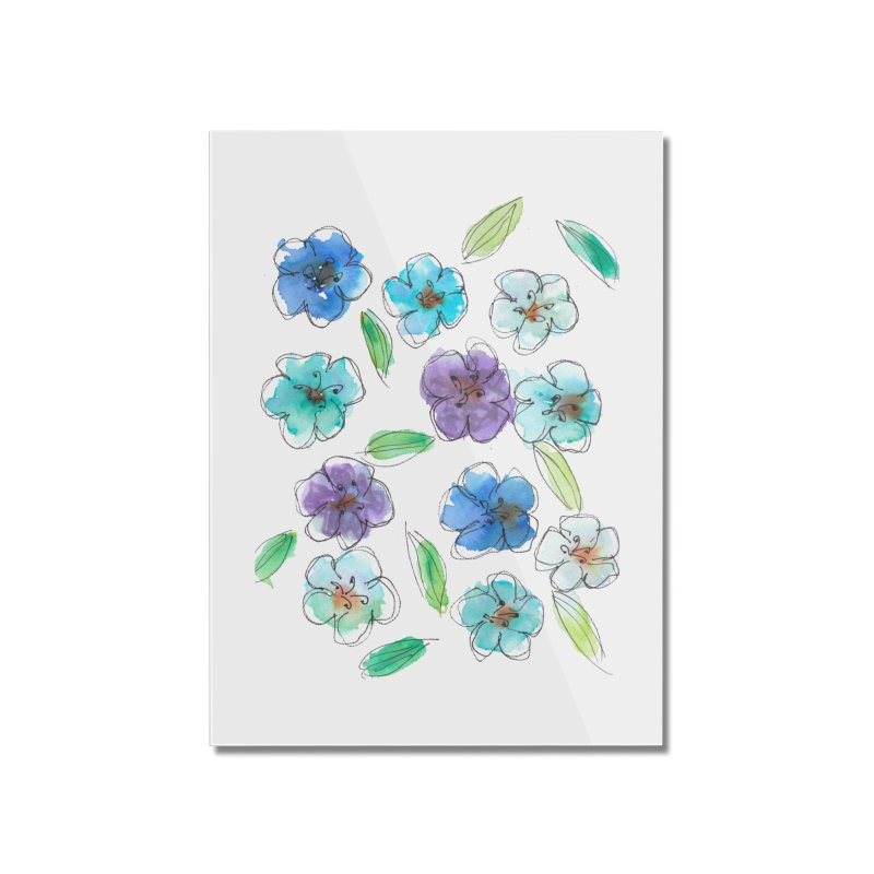 Blue flowers Home Mounted Acrylic Print by designsbydana's Artist Shop