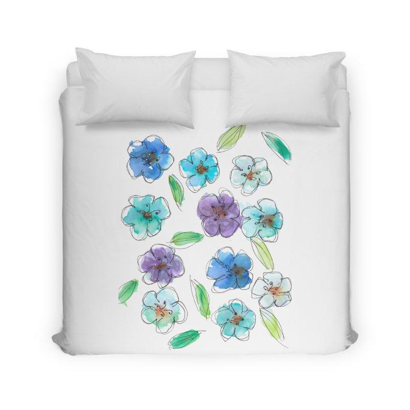 Blue flowers Home Duvet by designsbydana's Artist Shop