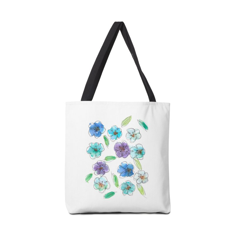 Blue flowers Accessories Bag by designsbydana's Artist Shop