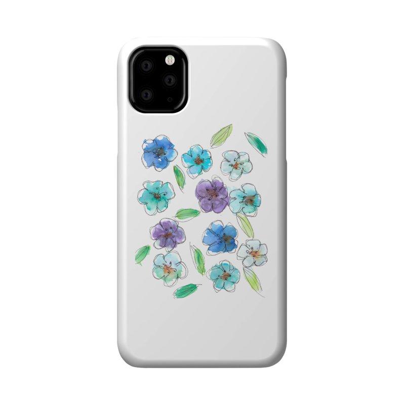 Blue flowers Accessories Phone Case by designsbydana's Artist Shop