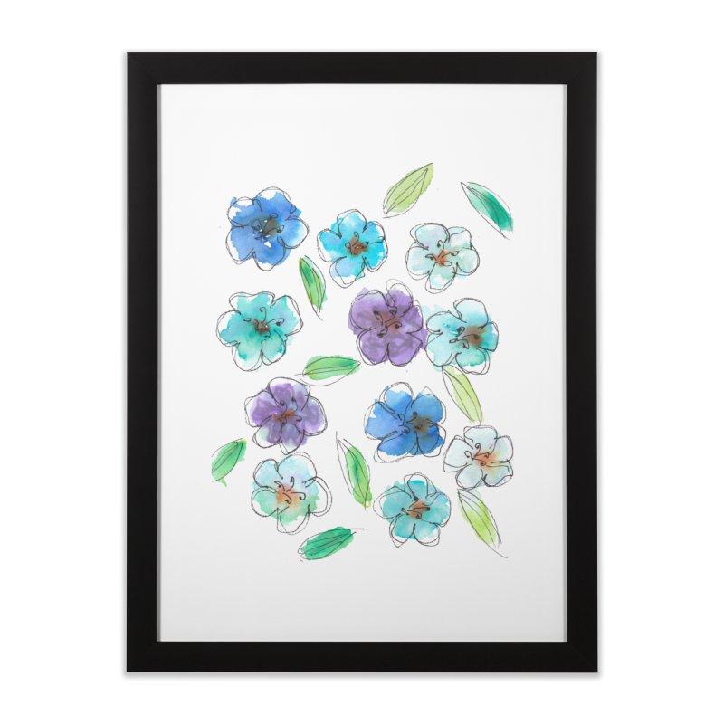 Blue flowers Home Framed Fine Art Print by designsbydana's Artist Shop
