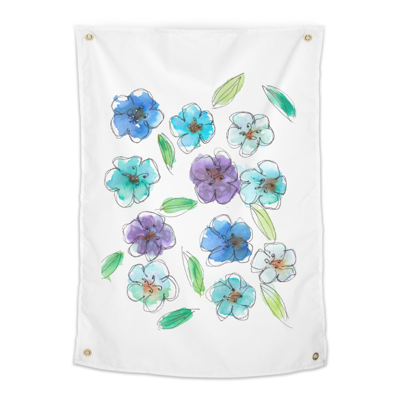 Blue flowers Home Tapestry by designsbydana's Artist Shop