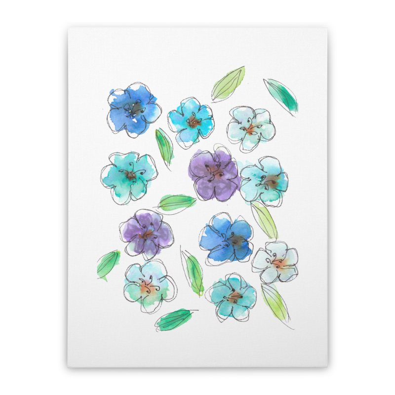 Blue flowers Home Stretched Canvas by designsbydana's Artist Shop
