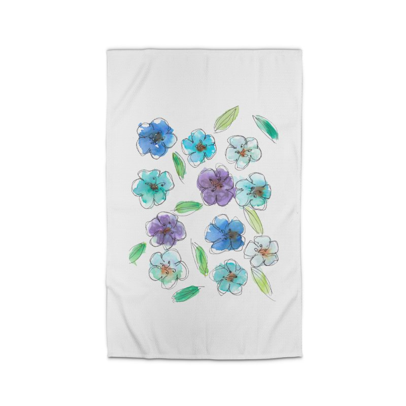 Blue flowers Home Rug by designsbydana's Artist Shop